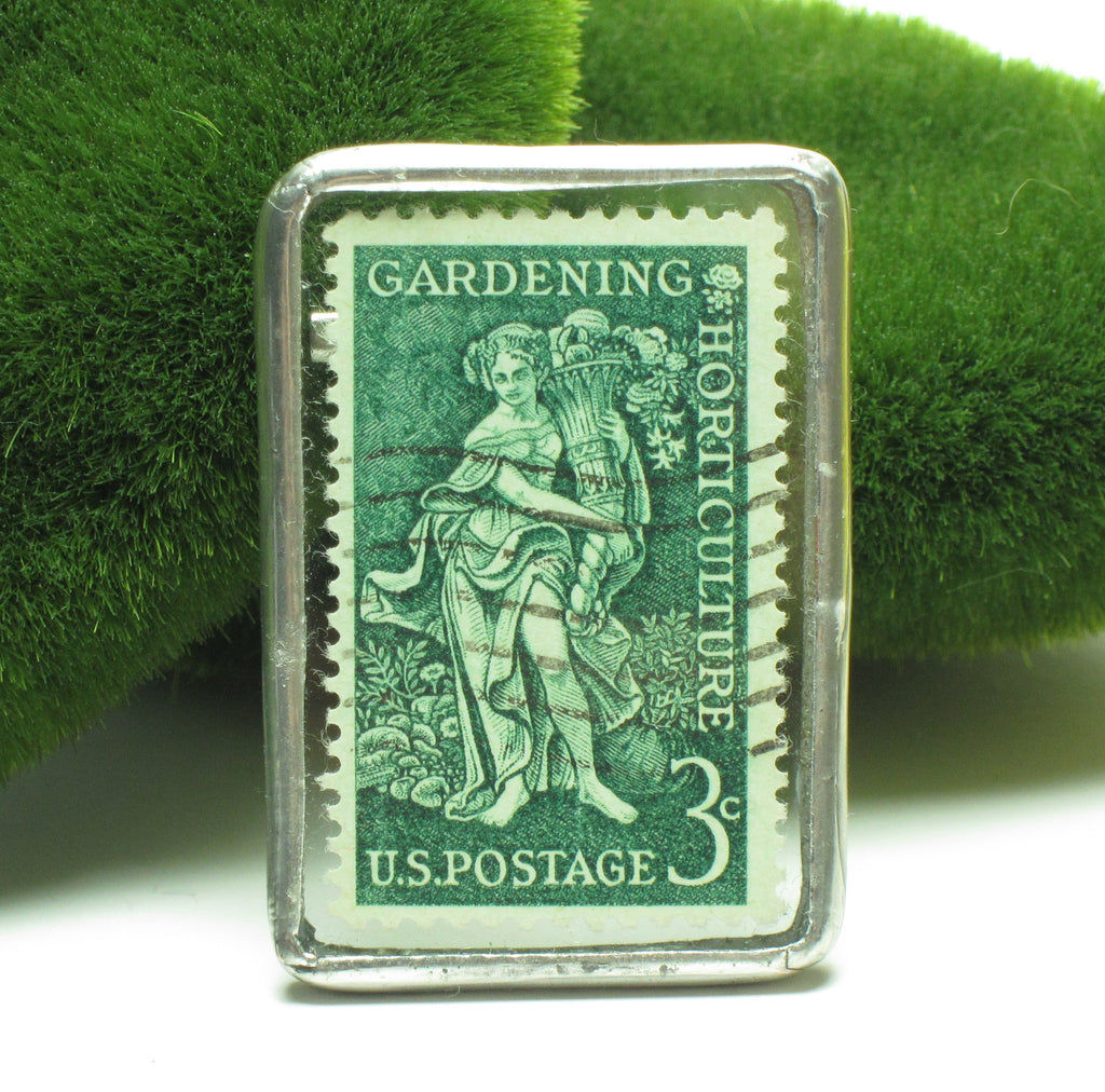 Gardening & Horticulture Postage Stamp Brooch Soldered Glass Pin