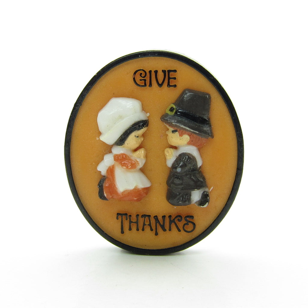 Give Thanks Pilgrims Pin Hallmark Vintage Thanksgiving Lapel