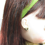 Gold heart earrings on Blythe Red Delicious doll