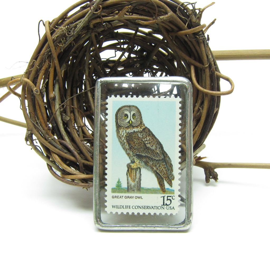 Owl Brooch Soldered Glass Postage Stamp Pin Great Gray Owl