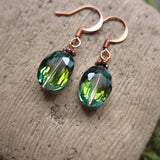 Faceted Green Beaded Earrings on Copper Ear Wires