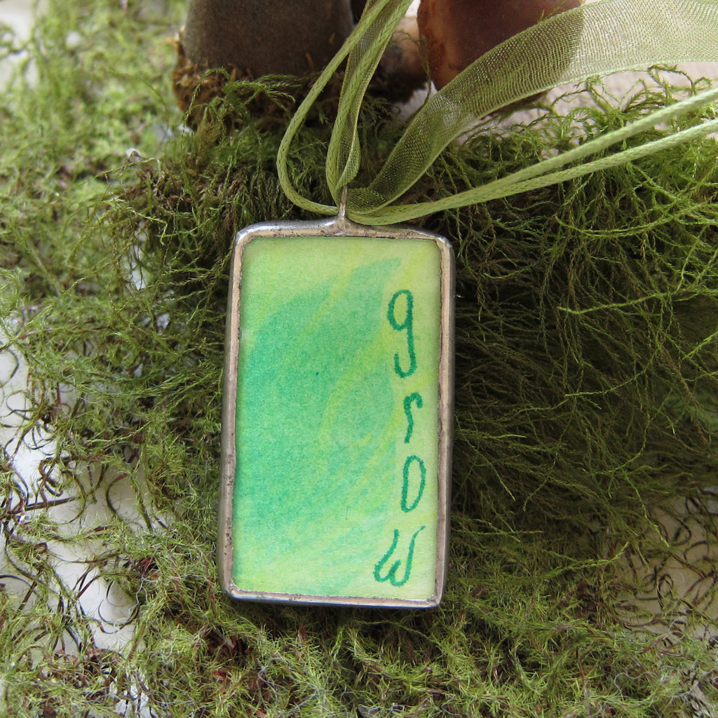 Green Grow Necklace Stained Glass Soldered Pendant with Watercolor Leaf Painting