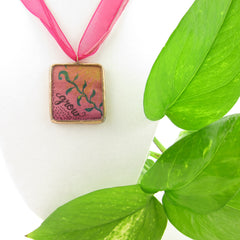 Copper Necklace with Watercolor Art