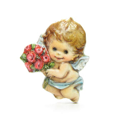 Valentine's Day cherub pin with rose bouquet