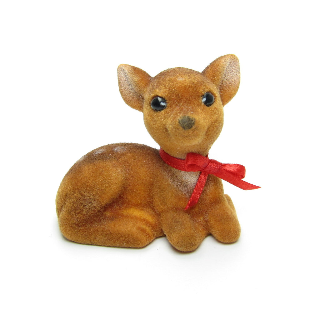 Hallmark Flocked Deer or Fawn Vintage 1983 Merry Miniatures Figurine