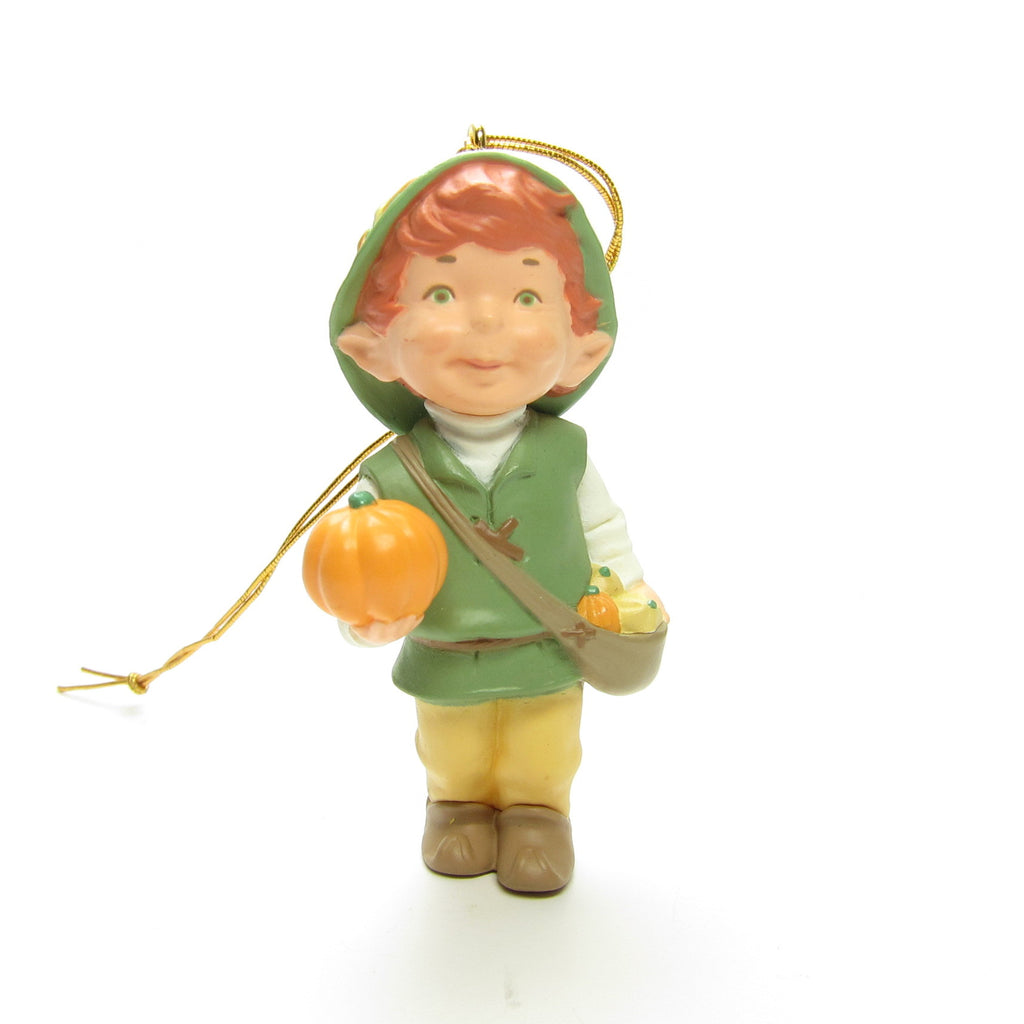 Harvest Joy Ornament Vintage 1994 Hallmark Garden Elves Collection Elf Boy