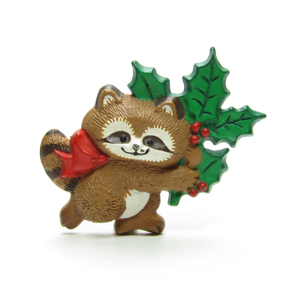 Hallmark Raccoon Pin with Holly Vintage 1986 Christmas Lapel
