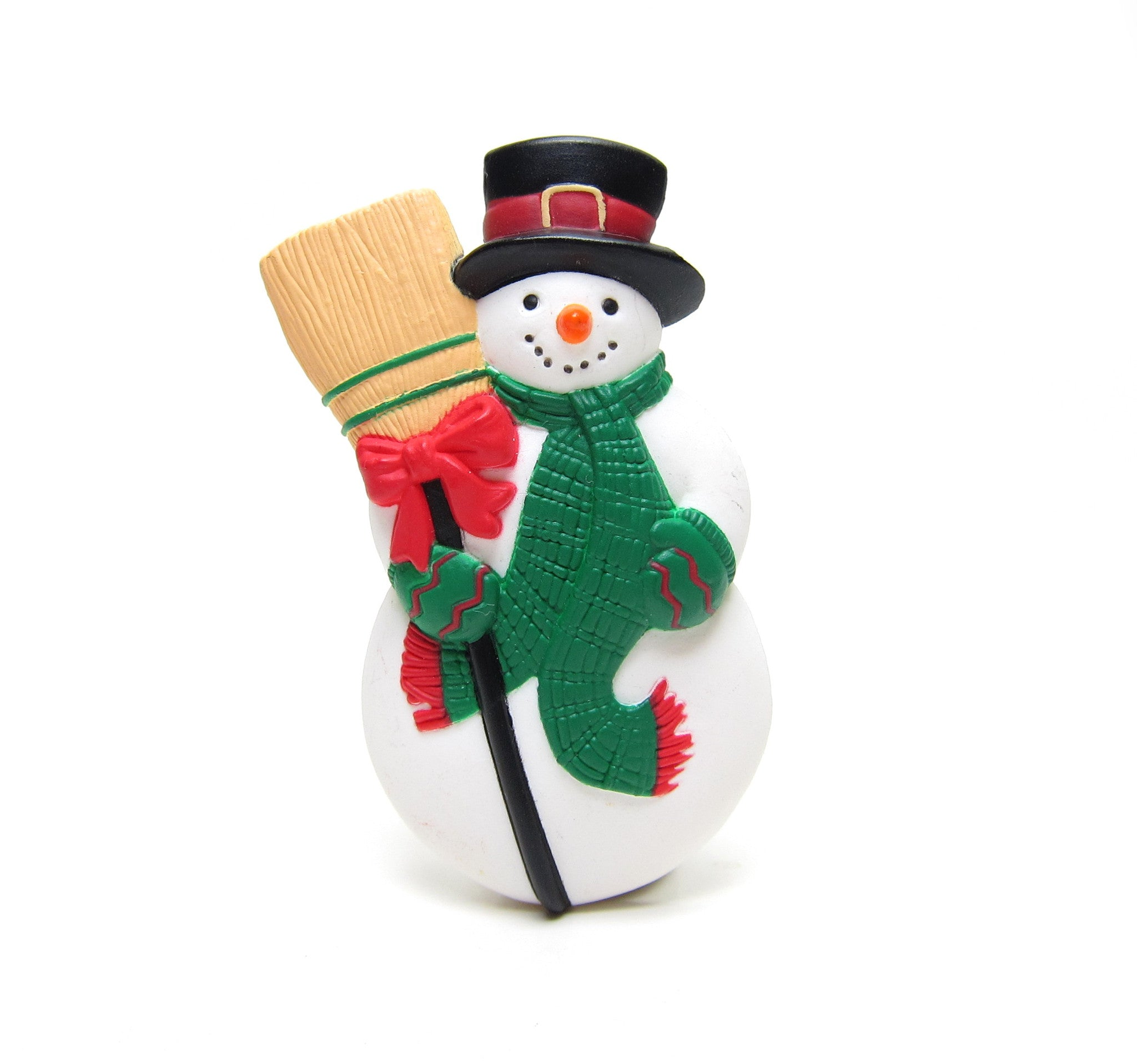 Snowman pin with broomstick vintage Hallmark lapel