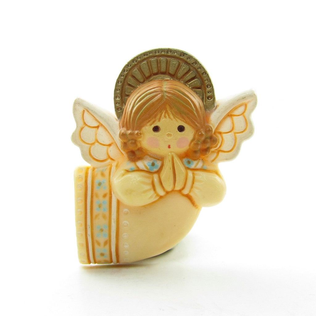 Hallmark Praying Angel Pin Vintage Christmas Lapel in Beige Dress
