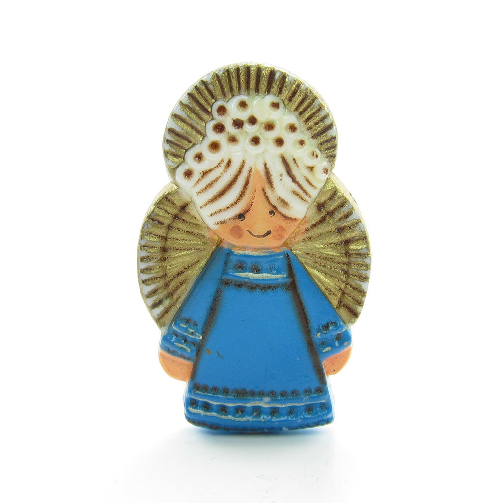 Hallmark Angel Pin Vintage Christmas Lapel in Blue Dress