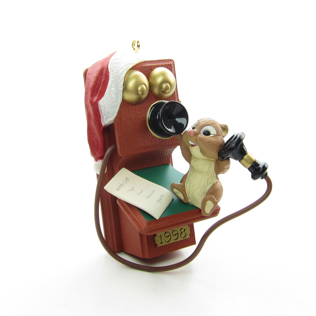 Chatty Chipmunk 1998 Hallmark Telephone Christmas Ornament