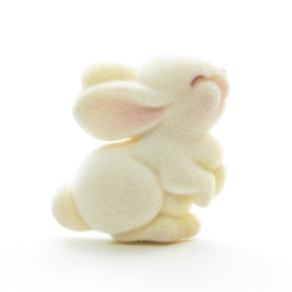 Flocked Bunny Rabbit Pin Vintage 1982 Hallmark Lapel