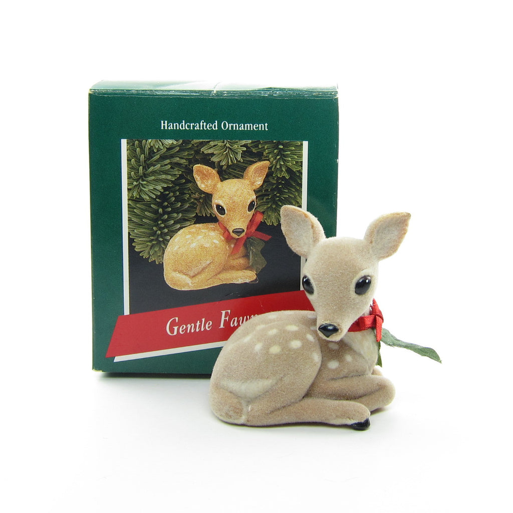 Hallmark Gentle Fawn Vintage 1989 Christmas Ornament Flocked Deer