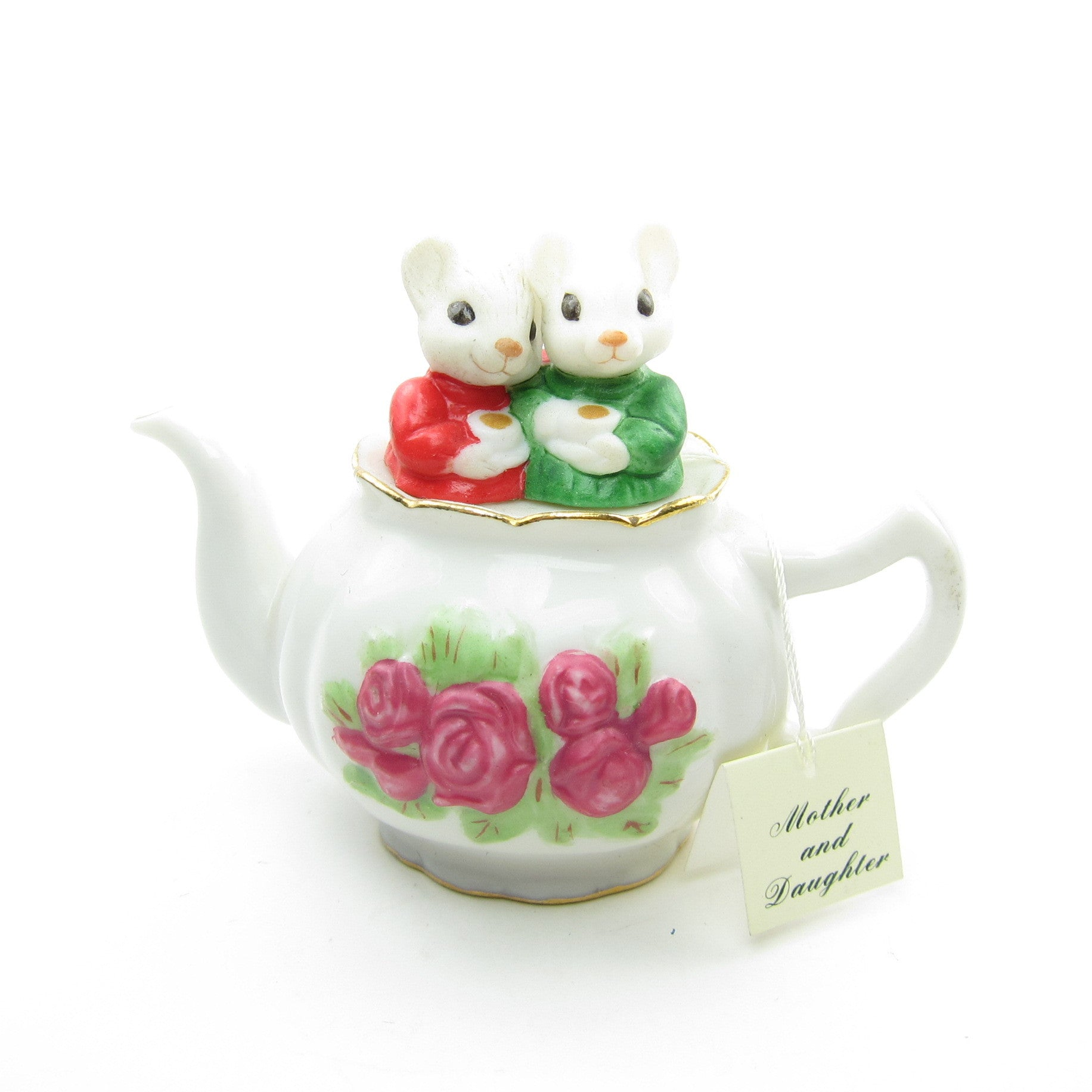 Mother and Daughter mice in tea pot Hallmark ornament