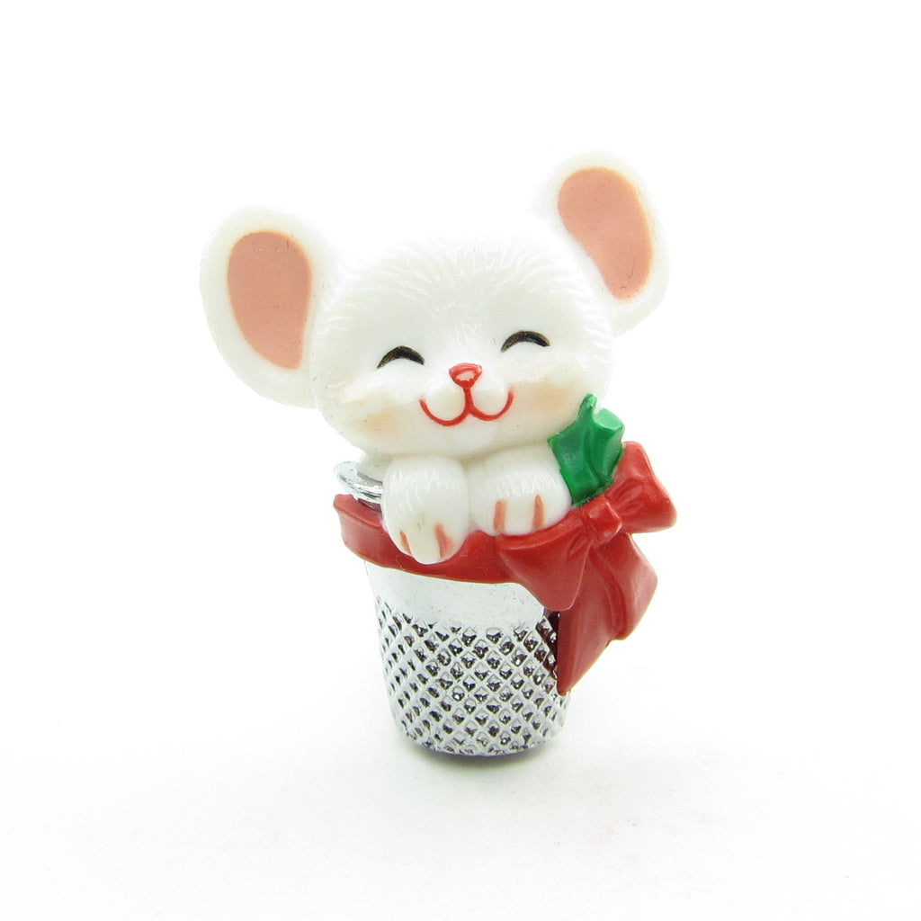 Mouse in Thimble Vintage Hallmark Christmas Lapel Pin