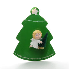 Hallmark angel pin with bottle brush tree