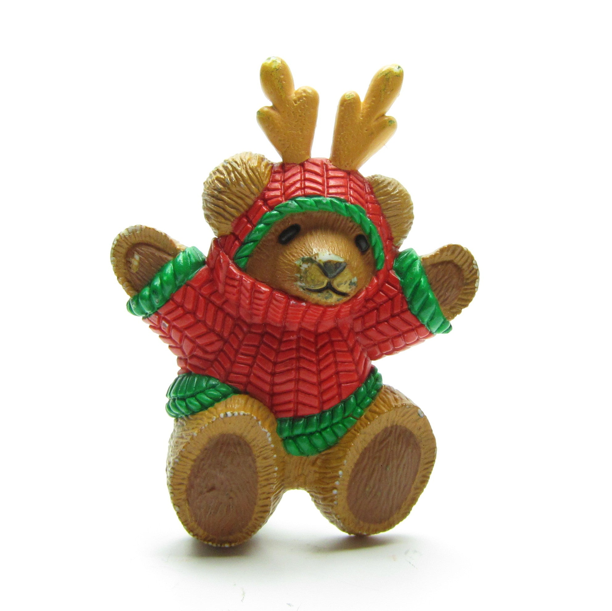 Hallmark teddy bear in Christmas sweater pin with antlers