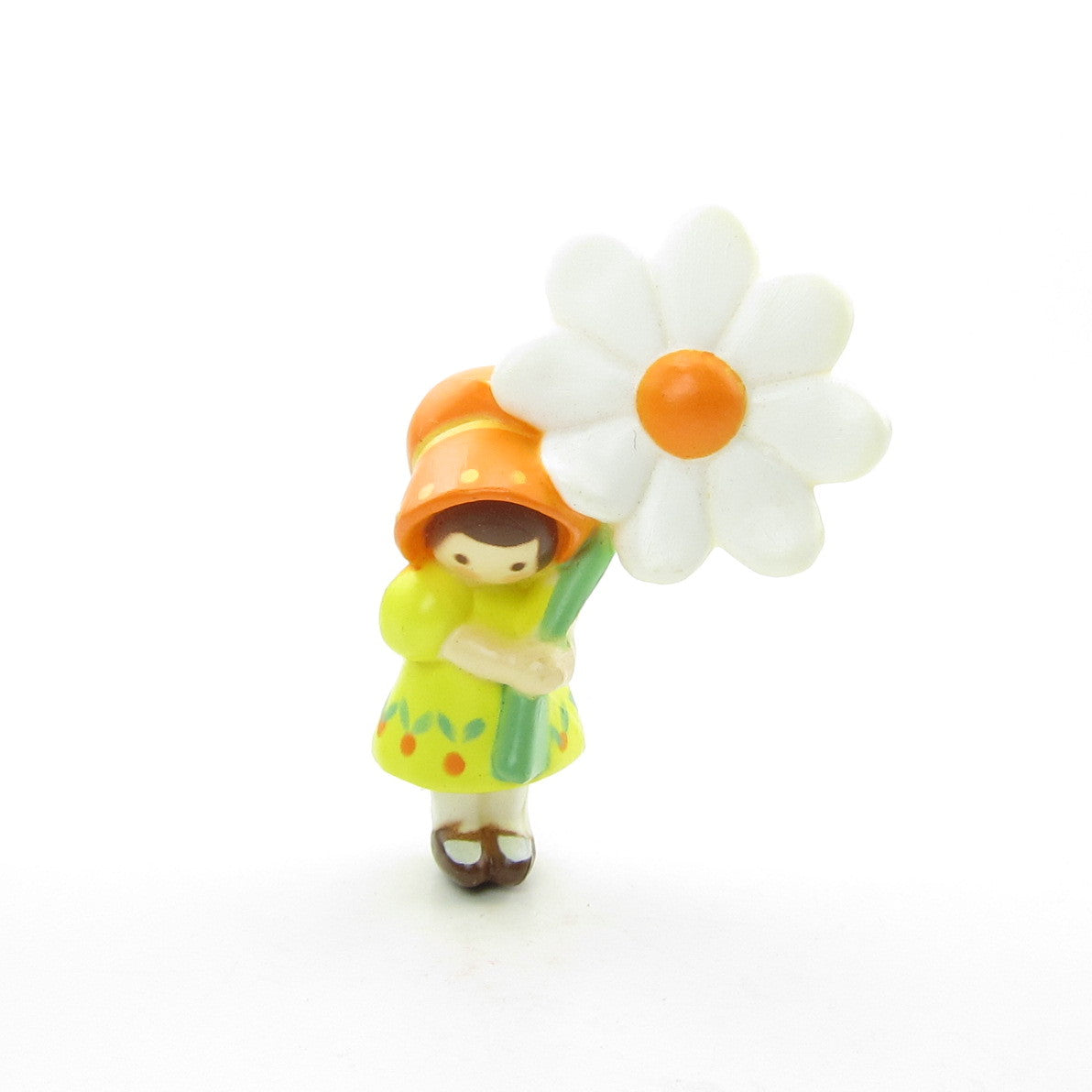 Hallmark pixie girl pin with yellow dress and orange bonnet