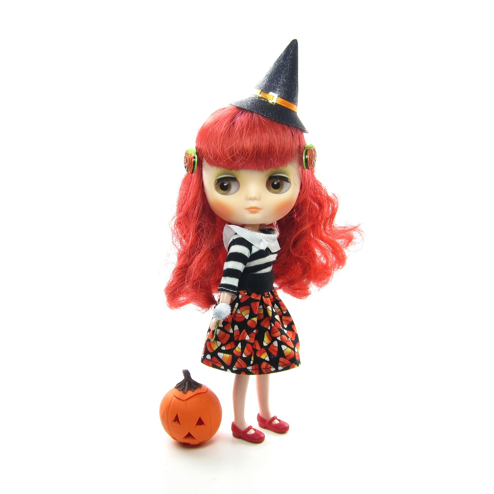 Halloween candy corn skirt for Middie Blythe doll