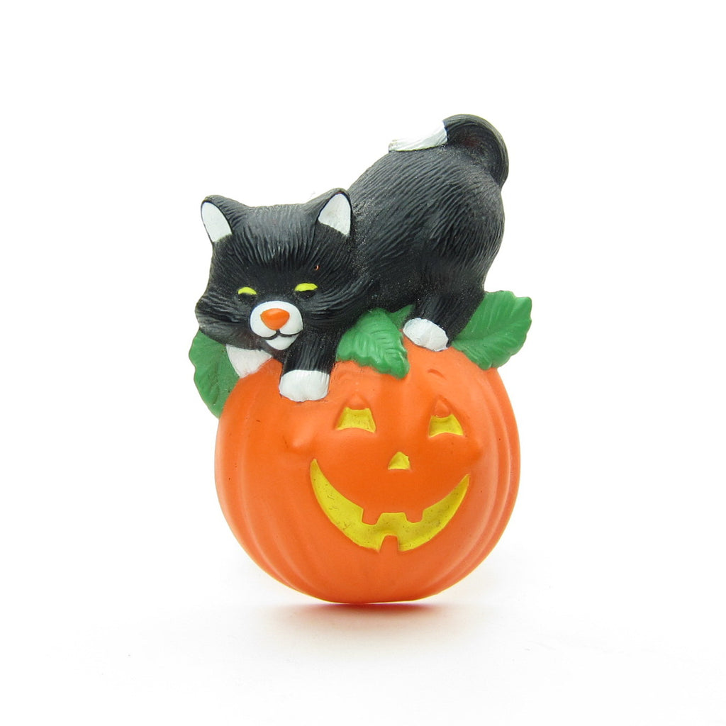 Black Cat on Pumpkin Pin Vintage Hallmark Halloween Lapel