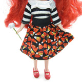 Black Middie Blythe skirt with candy corn