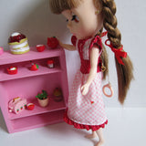 Blythe clothes pink gingham and red polka dotted dress