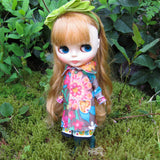 Blythe doll pea coat made of flowered felt