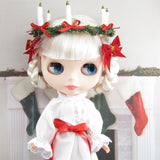 Handmade St. Lucy's day white gown with red bow and candle crown