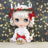 Saint Lucia's Day outfit for Blythe doll with gown, crown & sash