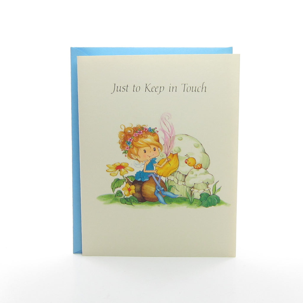 "Herself the Elf Greeting Card with Blue Envelope - ""Just to Keep in Touch"""