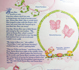 Close-up of story on Charmkins Honey Bee necklace backcard