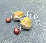 Cranberry red freshwater pearl earrings