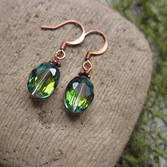 Green Iridescent Glass Bead Earrings on Copper Wires