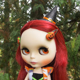 Jack-o-lantern barrettes for Blythe and Pullip dolls