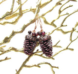 Burgundy earrings made with real pine cone