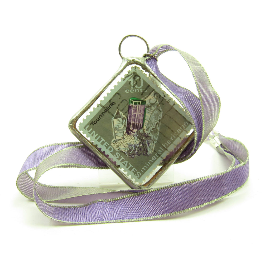 Amethyst Postage Stamp Necklace Soldered Pendant