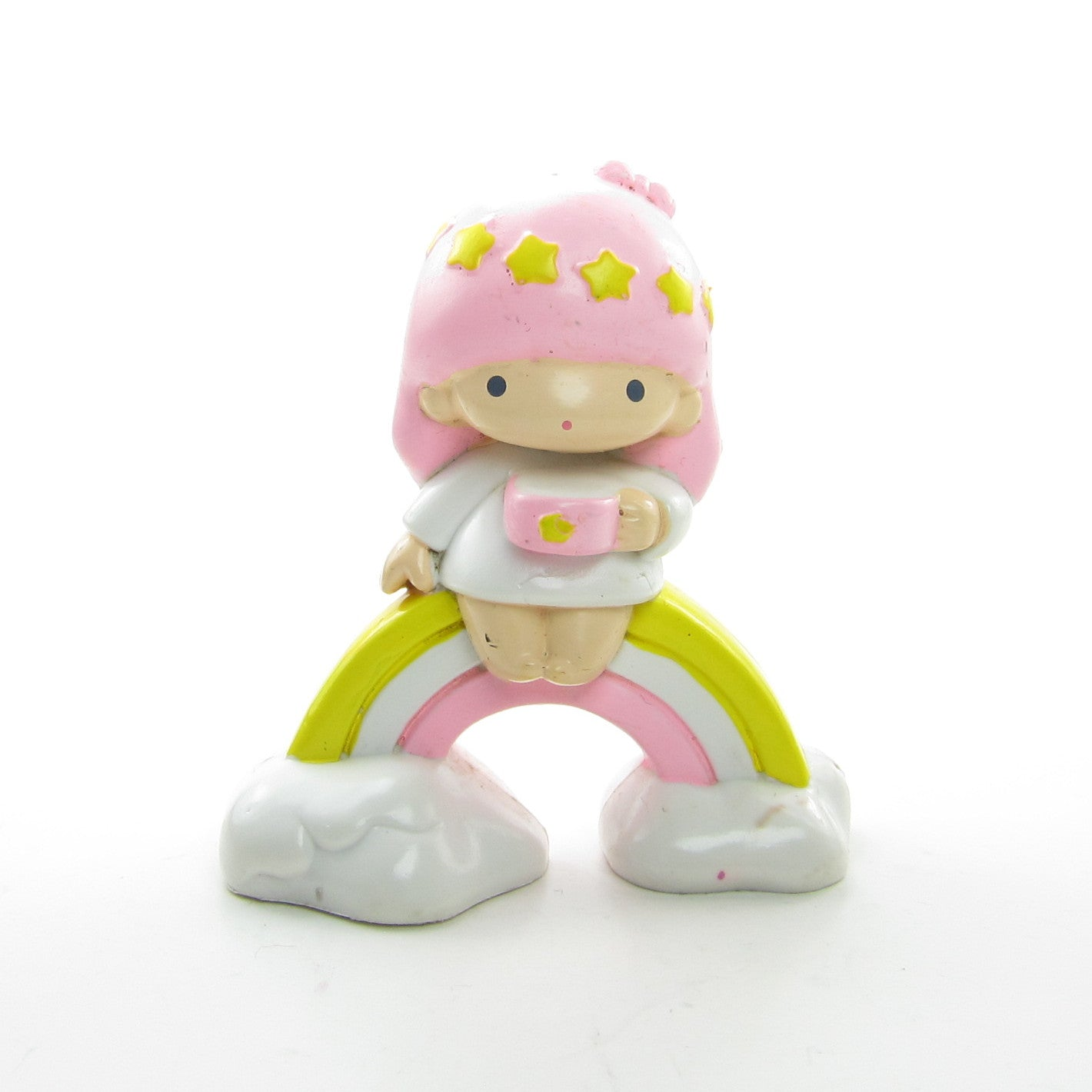 Little Twin Stars figurine with Lala sitting on a rainbow