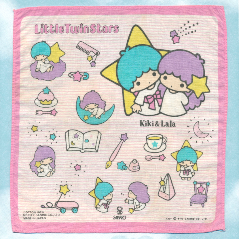 Little Twin Stars pink striped handkerchief with Kiki and Lala