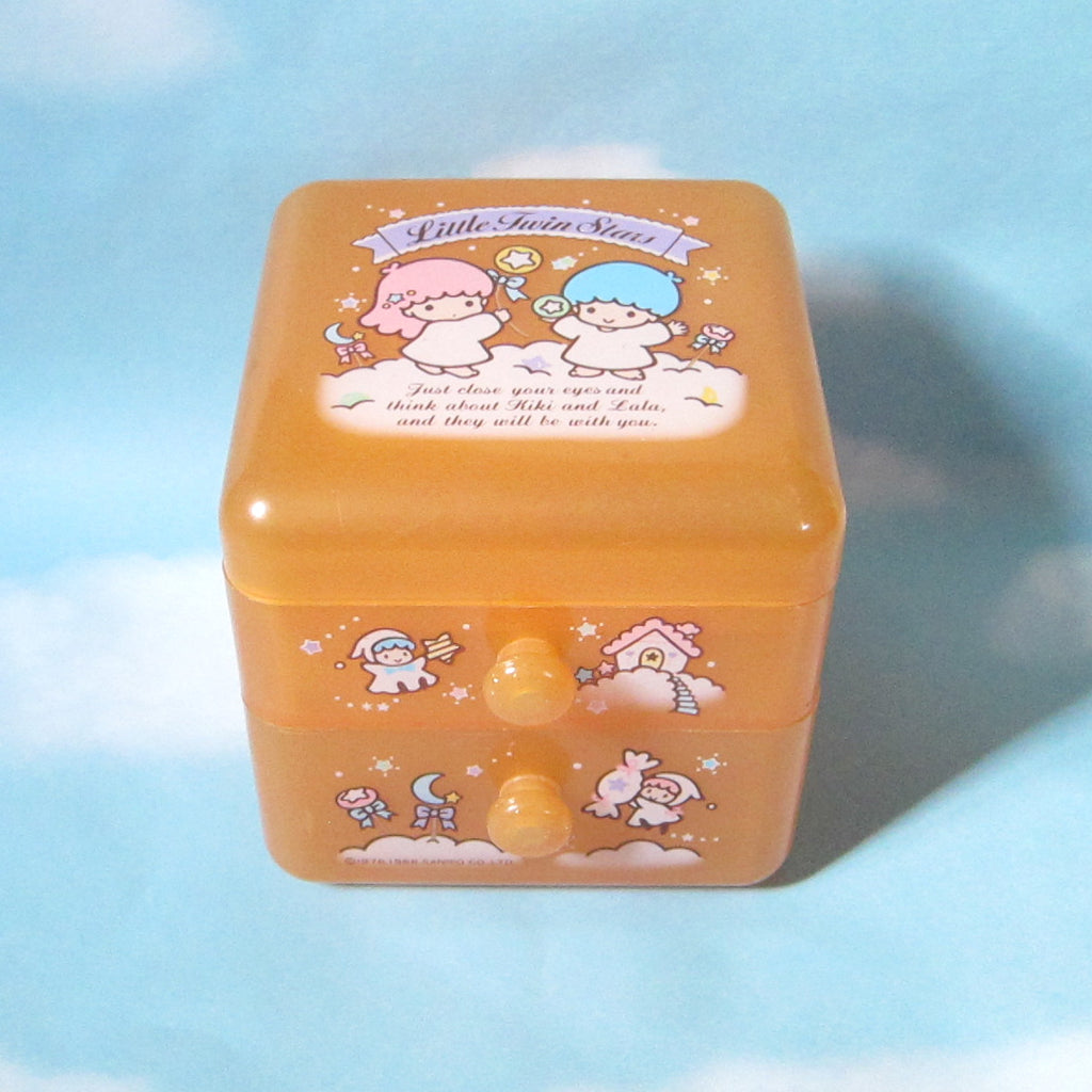Pink Glitter Little Twin Stars 1988 Trinket Box with Drawers