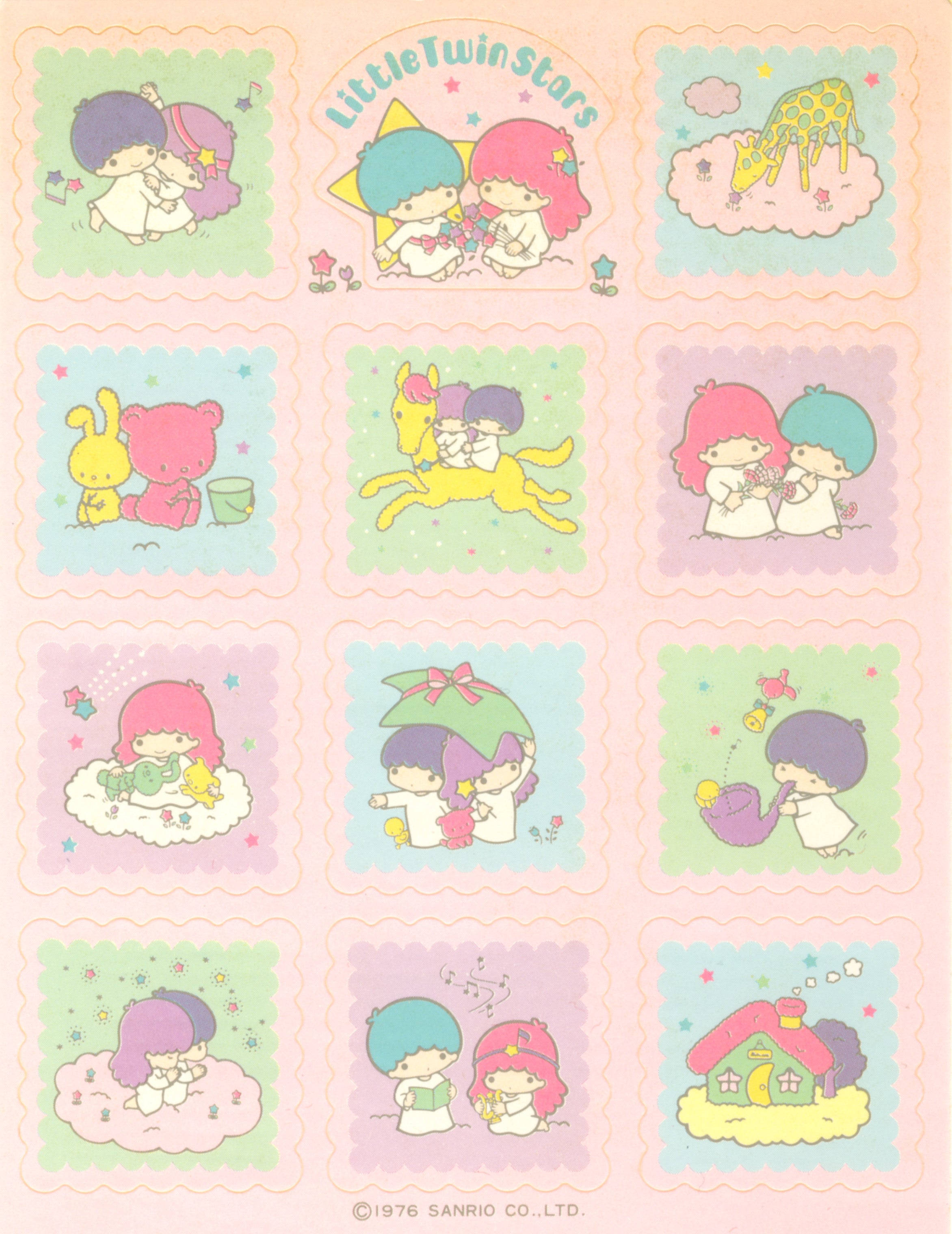 Little Twin Stars pink squares sticker sheet with Kiki & Lala