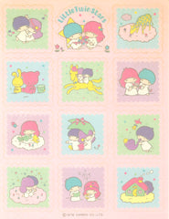 Little Twin Stars Pink Squares Unused Sticker Sheet