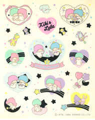 Little Twin Stars Iridescent Heart Stickers Vintage 1984 Sheet