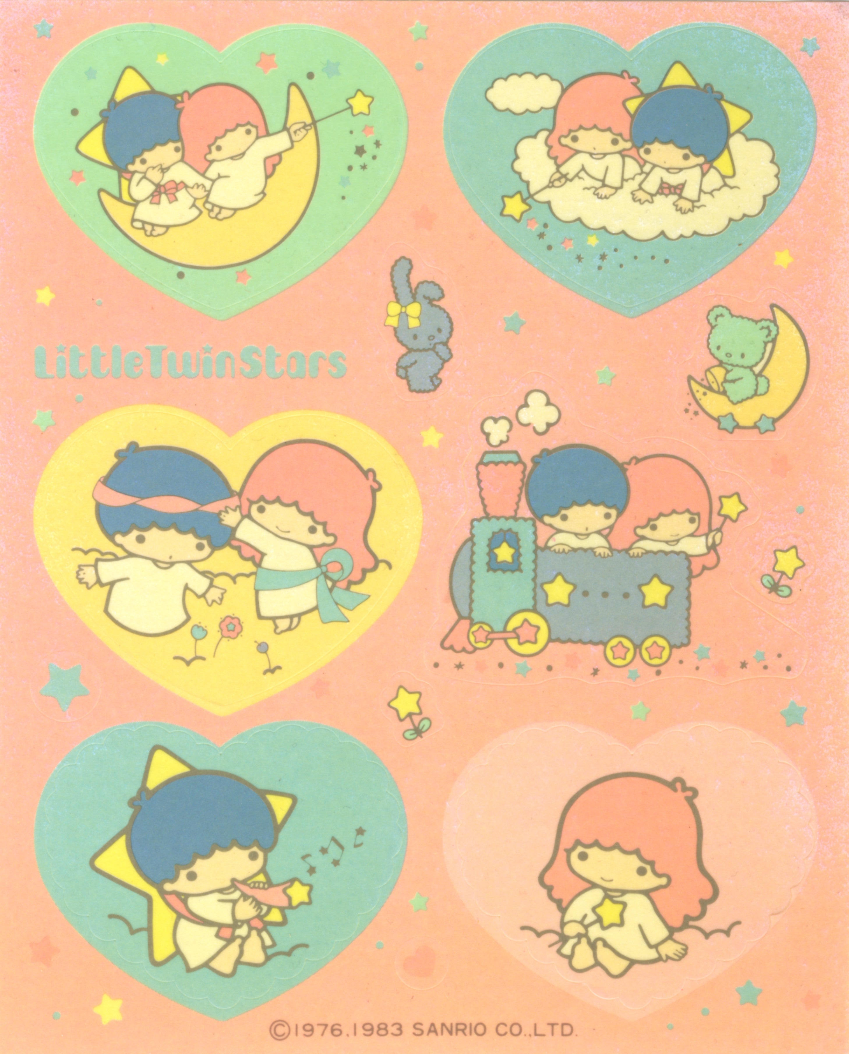 Little Twin Stars vintage 1983 unused sticker sheet with heart stickers