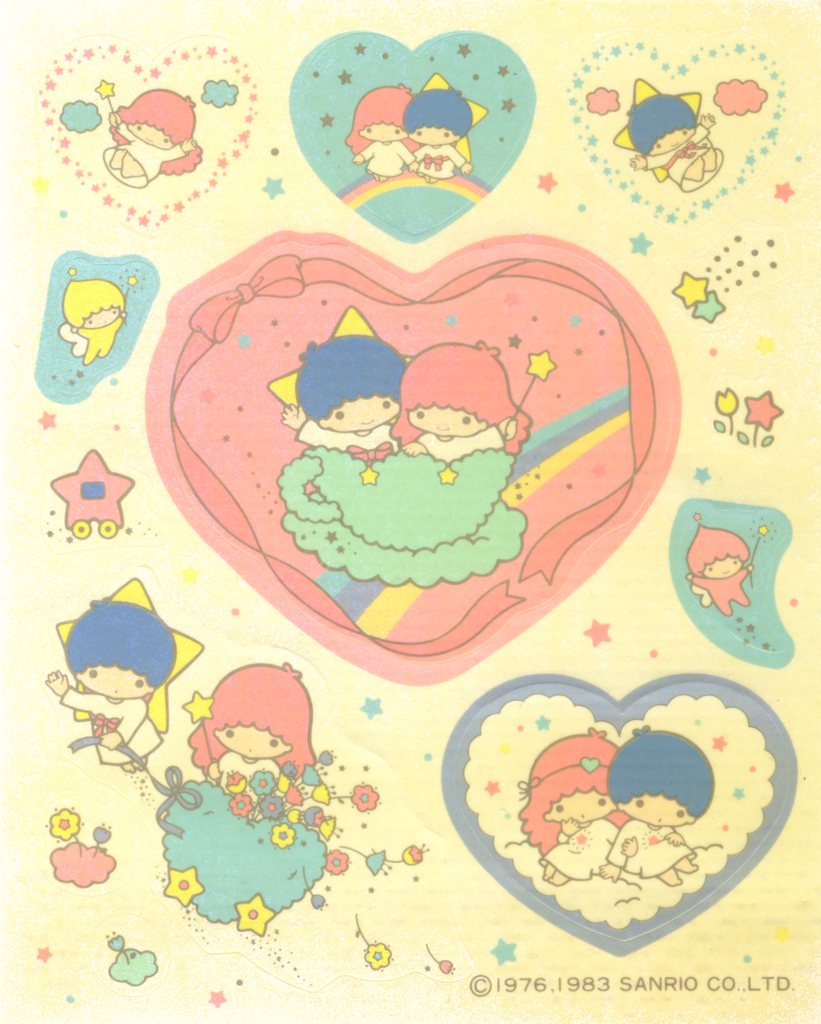 Little Twin Stars Stickers Vintage 1983 Kiki & Lala Hearts
