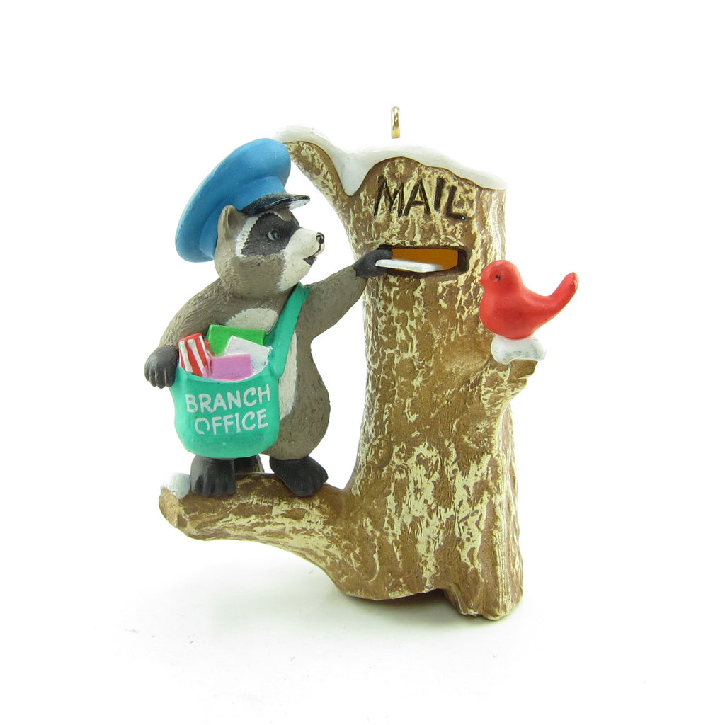 Mail Call Ornament Vintage Hallmark 1989 Tree Stump Mailbox with Raccoon