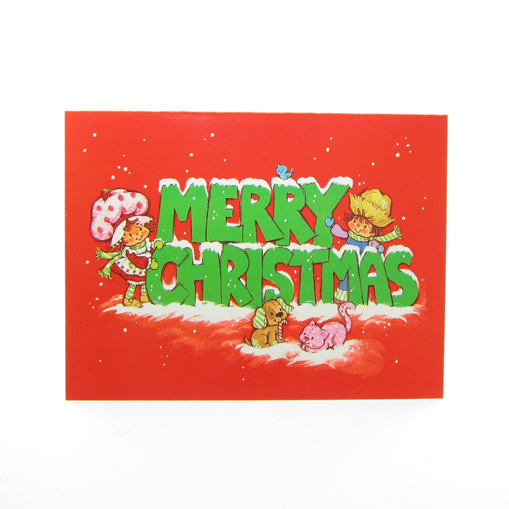 Merry Christmas Strawberry Shortcake Holiday Greeting Card with Envelope
