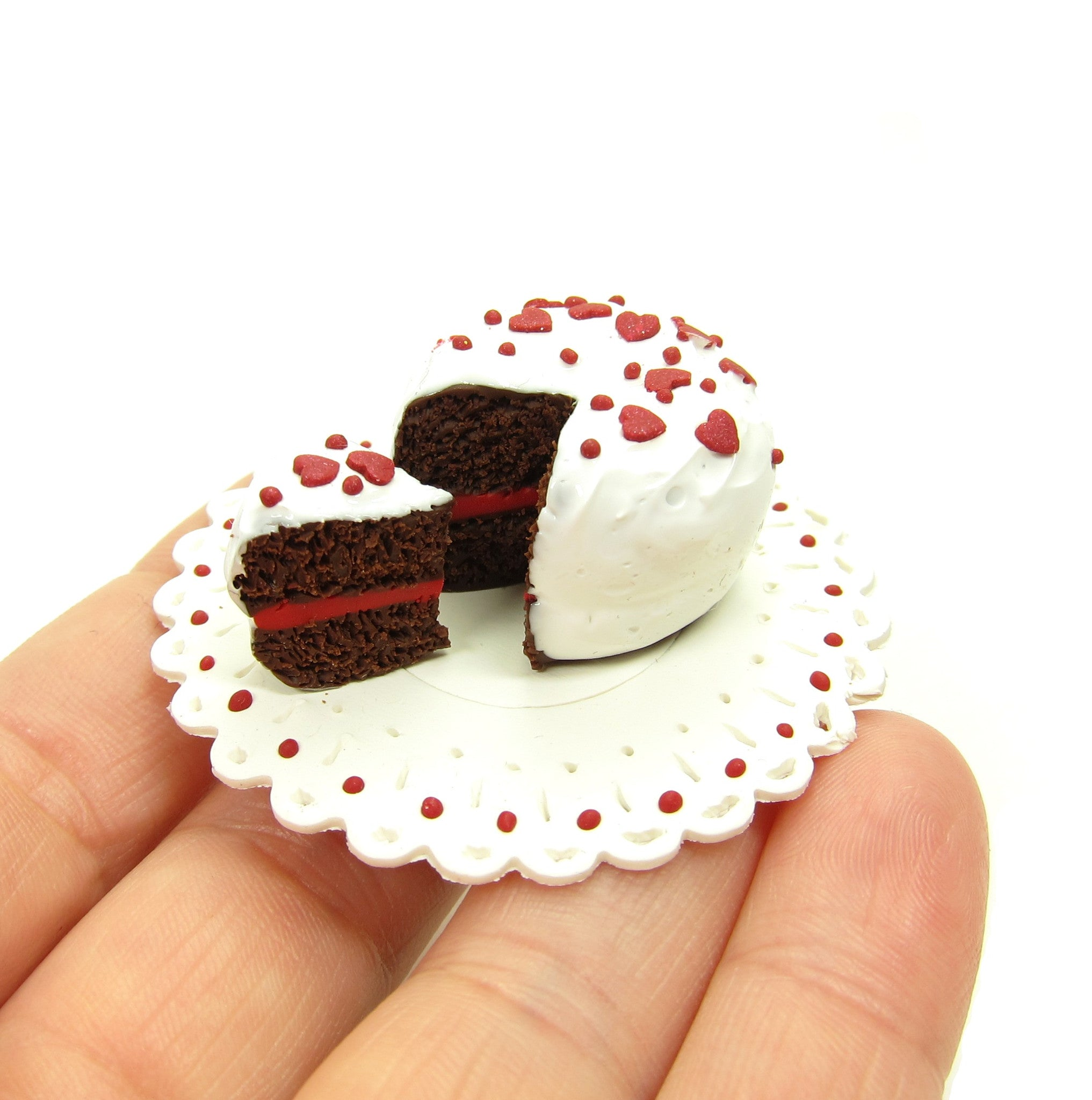 Miniature Dollhouse Chocolate Cake with Red Hearts