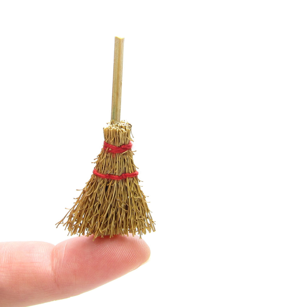 Miniature Broom Natural Straw Craft Broomstick for Dollhouse, Halloween, Snowman Crafts