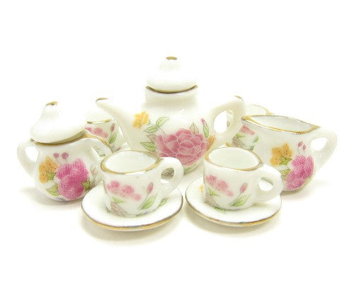 Miniature Dollhouse Tea Set - Teapot, Teacups White with Pink Flowers