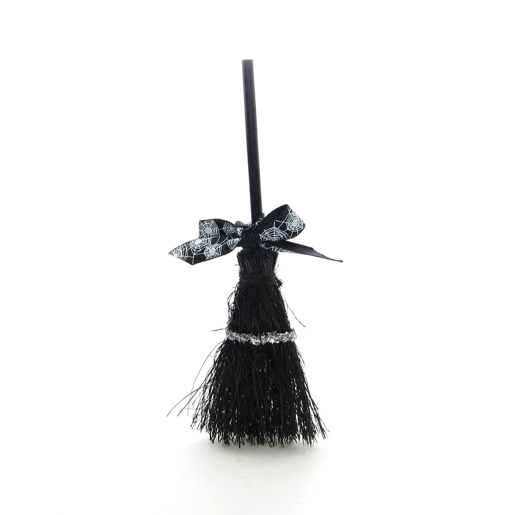 Black Halloween Broom Miniature Broomstick for Dolls & Crafts